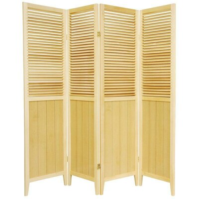 Oriental Furniture Beadboard 4 Panel Room Divider in Natural