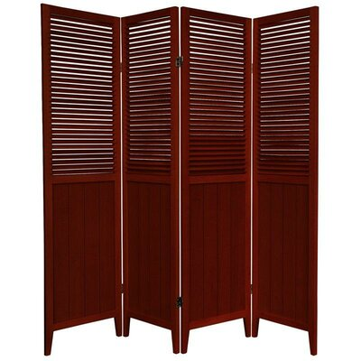 Oriental Furniture Beadboard 4 Panel Room Divider in Rosewood