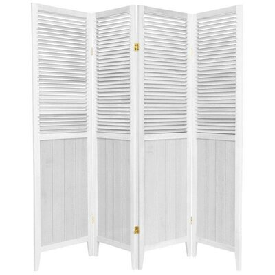 Oriental Furniture Beadboard 4 Panel Room Divider in White