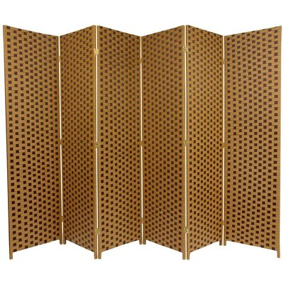 Woven Fiber 6 Panel Room Divider in Brown and Tan