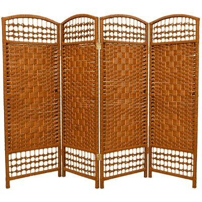 Fiber Weave 4 Panel Room Divider in Dyed Dark Beige