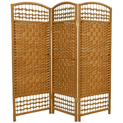 Fiber Weave 3 Panel Room Divider in Dyed Light Beige