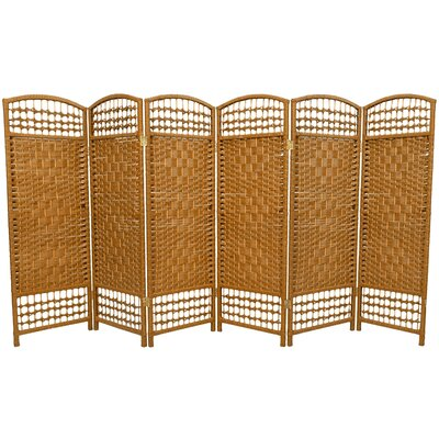 Fiber Weave 6 Panel Room Divider in Dyed Light Beige