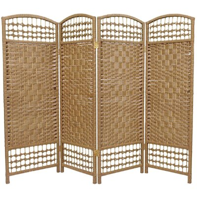 Oriental Furniture Fiber Weave 4 Panel Room Divider in Dyed Natural