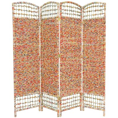 Oriental Furniture 67&quot; Recycled Magazine 4 Panel Room Divider