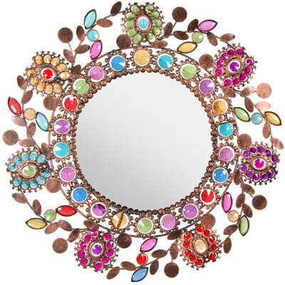 Flowing Leaves and Flowers Beaded Mirror