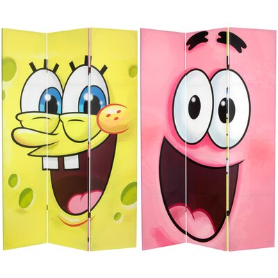 "Oriental Furniture 71"" x 47.25"" Tall Double Sided SpongeBob 3 Panel Room Divider"