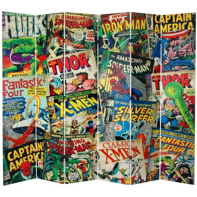 Oriental Furniture Tall Double Sided Marvel Comic Book Covers Canvas Room Divider