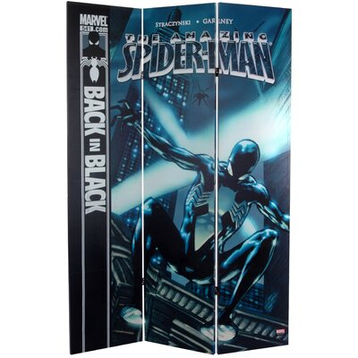 "Oriental Furniture 71"" x 47.25"" Tall Double Sided Spider-Man Back 3 Panel Room Divider"