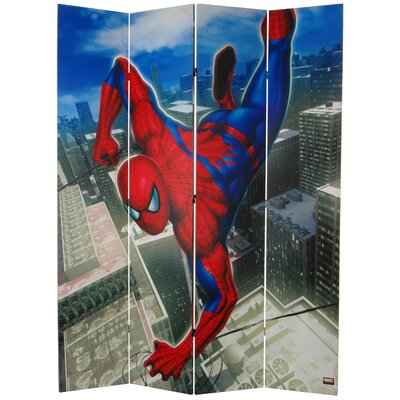 "Oriental Furniture 84"" x 68"" Tall Double Sided Spider-Man Wall Crawler 4 Panel Room Divider"