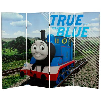 Oriental Furniture Tall Double Sided Thomas and Percy Canvas Room Divider