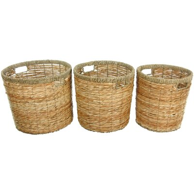 Oriental Furniture Rush Grass Round Waste Bin