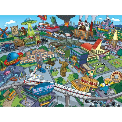 The Simpsons Town of Springfield Graphic Art on Canvas
