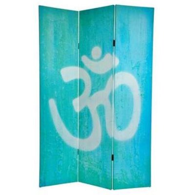 Oriental Furniture 6 Feet Tall Double Sided Yin Yang/Om Canvas Room Divider