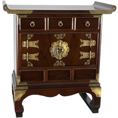 Korean 3 Drawer End Table Cabinet
