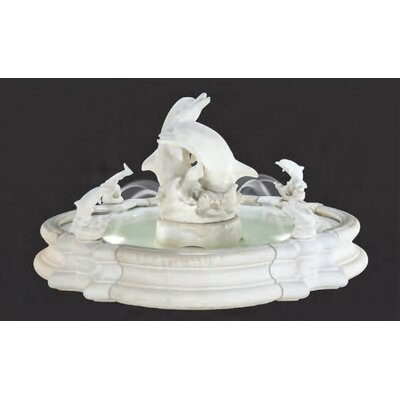Henri Studio Pooled Cast Stone Grande Millennia Dolphin Fountain