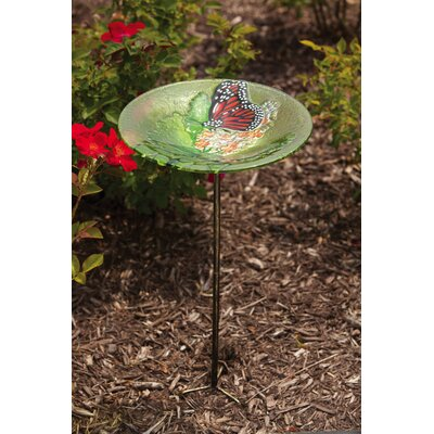 Bird Bath Stake Monarch Lilac in Glass