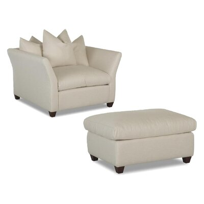 Klaussner Furniture Fifi Fabric Arm Chair and Ottoman