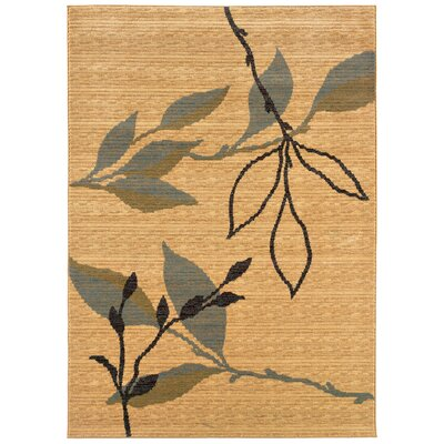 LR Resources Opulence Cream/Blue Leaf and Sprig Design Rug