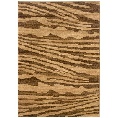 LR Resources Opulence Cream/Light Brown Woodgrain Inspired Rug