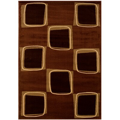 LR Resources Adana Rose/Brown Checkerboard Rug