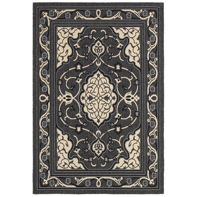 LR Resources Lanai Anthracite/Cream Rug