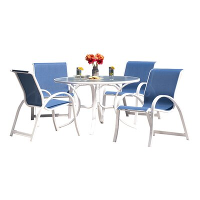 Telescope Casual Quick Ship Aruba II Sling Glass 5 Piece Dining Set