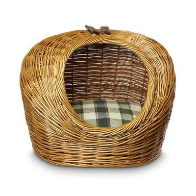 Wicker Colonial Plaid Cat Basket and Bed