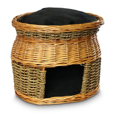 Wicker Double Decker Cat Basket and Bed