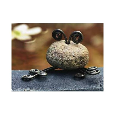 Ancient Graffiti Stone Frog Mini Statue