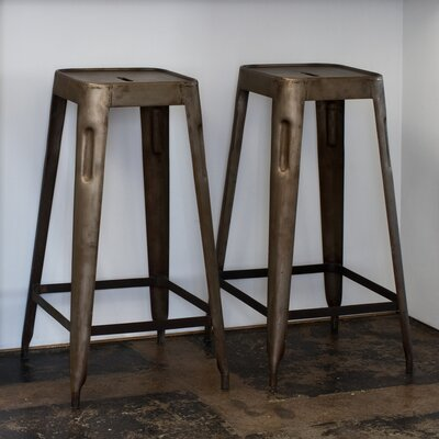 CG Sparks Steel Stacking Barstool in Natural Patina (Set of 2)