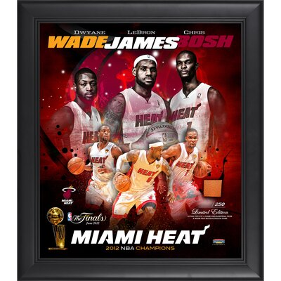 LeBron James, Dwyane Wade and Chris Bosh Miami Heat 2012 NBA Champions Framed Collage with ...