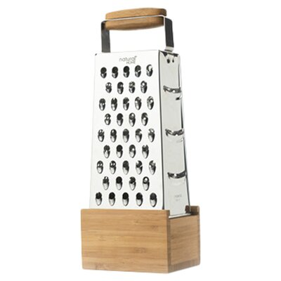 Natural Home Stainless Steel  Box Grater with Bamboo Catch
