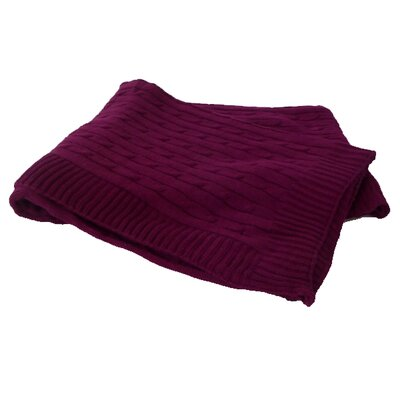 Cashmere and Bamboo Cable Yacht Throw with Rib Edges