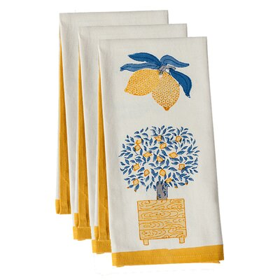 Couleur Nature Lemon Tree Blue Yellow Tea Towel (Set of 3)