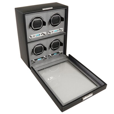 Wolf Designs Viceroy Module 2.7 Four Piece Watch Winder with Cover in Black