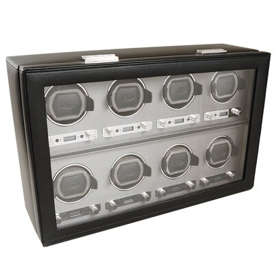 Wolf Designs Viceroy Module 2.7 Eight Piece Watch Winder with Cover in Black