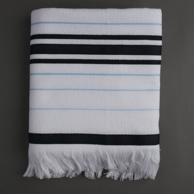 Nine Space Ayrika Stripe Fouta Towel in Black