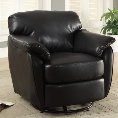 Monarch specialties inc leather look swivel lounge chair for Swivel accent chairs with arms