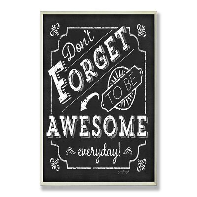 Home Décor Be Awesome Inspirational Chalkboard Look Wall Plaque