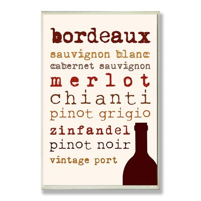 Home Décor Wine Types Typography Kitchen Wall Plaque