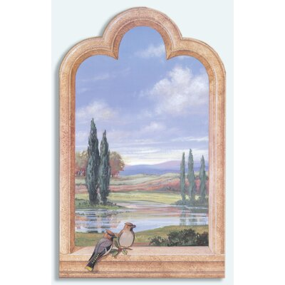 Birds Cypress Trees Faux Window Scene Painting Print Plaque