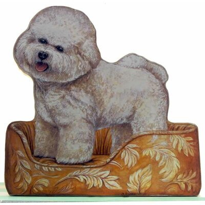 Stupell Industries Bichon Frisse Wooden Decorative Dog Doorstop