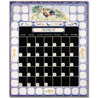 Stupell Industries Rooster and Fence Magnetic Tile Perpetual Calendar