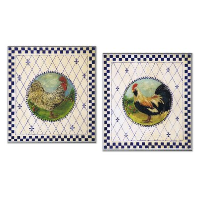 Blue Checked Border and Roosters Oversized Kitchen Wall Plaque Set