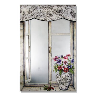 Stupell Industries Faux Window Mirror Screen with Toile Vase