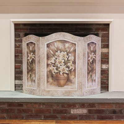 Stupell Industries Lily Flower 3 Panel MDF Fireplace Screen
