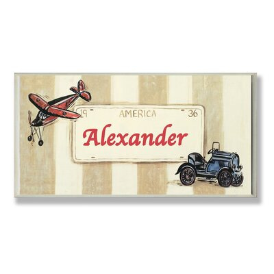 Kids Room Personalization Plane/Car Boys Name Plaque