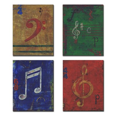 Stupell Industries Kids Room Distressed Musical Notes Wall Plaques