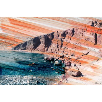 Red Beach Painting Print on Canvas